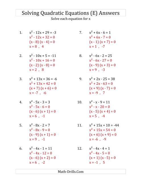 The Solving Quadratic Equations for x with 'a' Coefficients of 1 (Equations equal an integer) (E) Math Worksheet Page 2