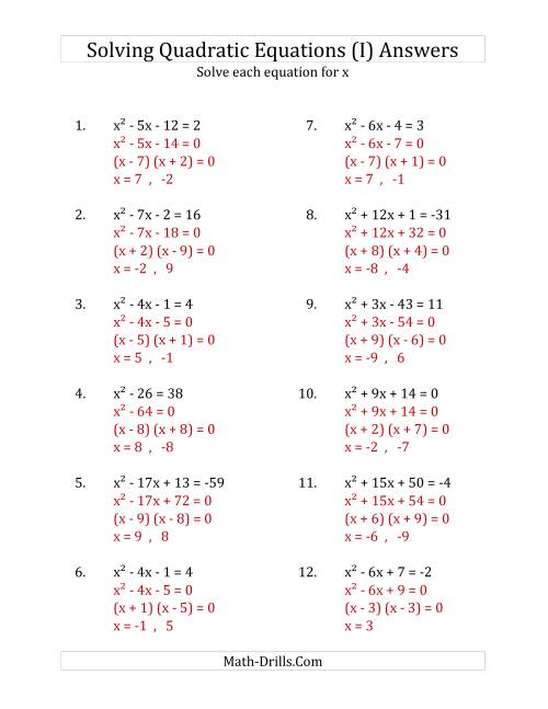 The Solving Quadratic Equations for x with 'a' Coefficients of 1 (Equations equal an integer) (I) Math Worksheet Page 2