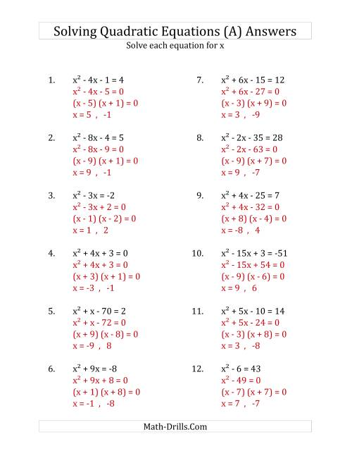 The Solving Quadratic Equations for x with 'a' Coefficients of 1 (Equations equal an integer) (All) Math Worksheet Page 2