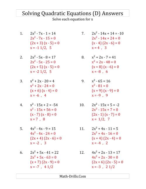 The Solving Quadratic Equations for x with 'a' Coefficients up to 4 (Equations equal an integer) (D) Math Worksheet Page 2