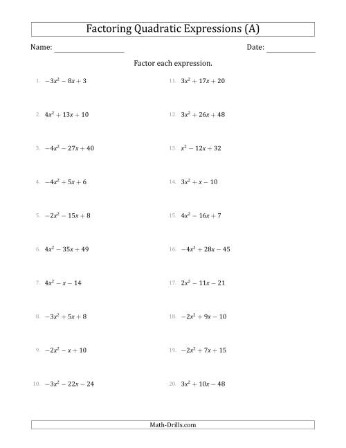 The Factoring Quadratic Expressions with Positive or Negative 'a' Coefficients up to 4 (A) Math Worksheet