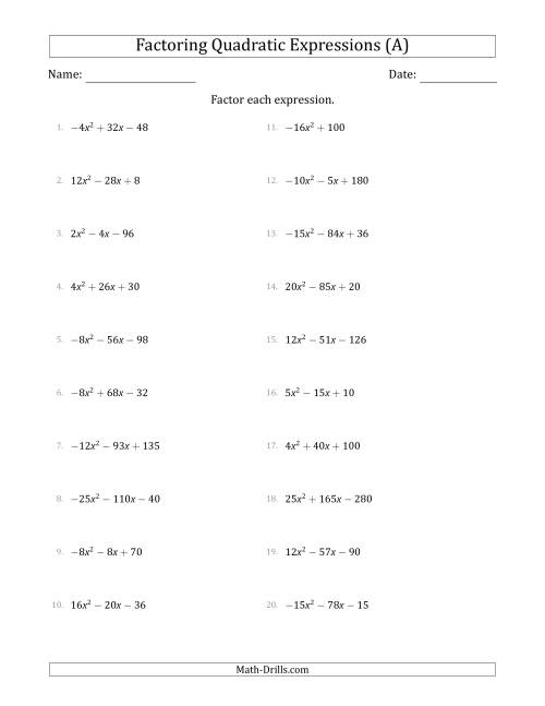 The Factoring Quadratic Expressions with Positive or Negative 'a' Coefficients up to 5 with a Common Factor Step (A) Math Worksheet