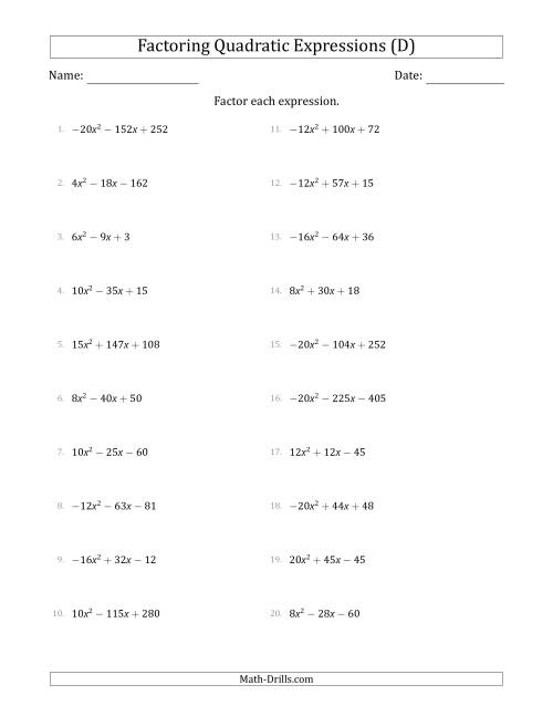 The Factoring Quadratic Expressions with Positive or Negative 'a' Coefficients up to 5 with a Common Factor Step (D) Math Worksheet