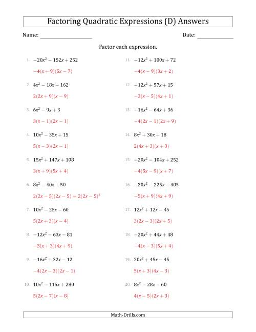 The Factoring Quadratic Expressions with Positive or Negative 'a' Coefficients up to 5 with a Common Factor Step (D) Math Worksheet Page 2