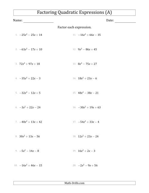 The Factoring Quadratic Expressions with