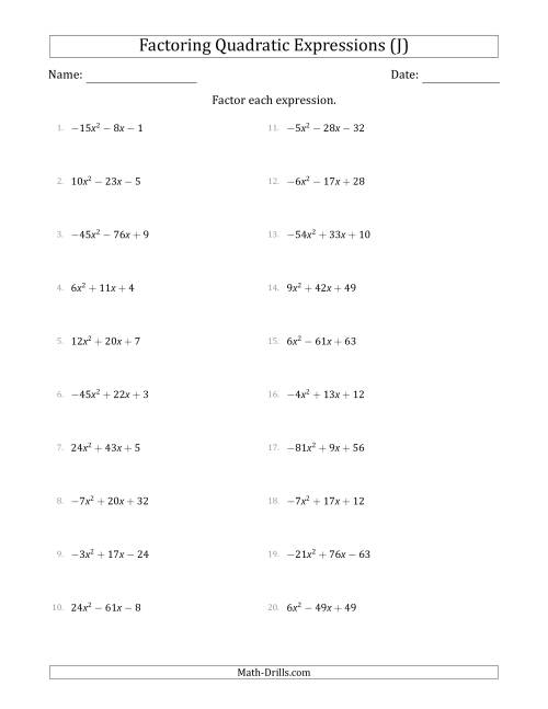 The Factoring Quadratic Expressions with Positive or Negative 'a' Coefficients up to 81 (J) Math Worksheet