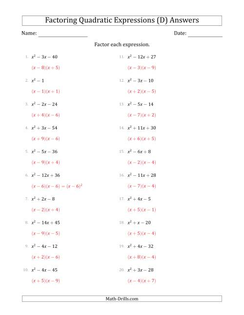 The Factoring Quadratic Expressions with Positive 'a' Coefficients of 1 (D) Math Worksheet Page 2