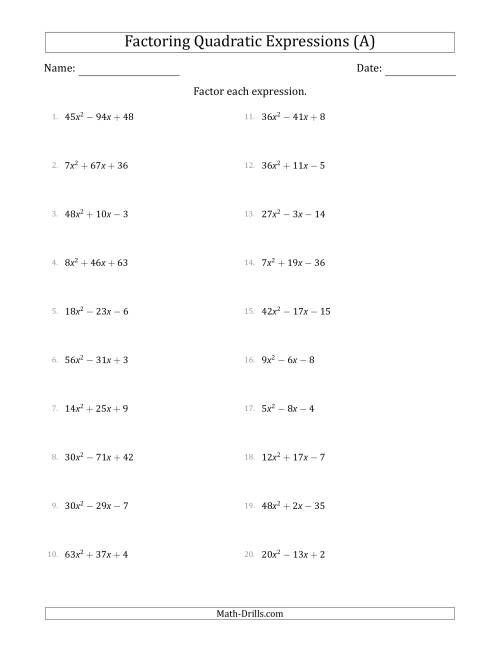 Free Worksheet Factorization Worksheets factoring quadratic expressions with a coefficients up to 81 the algebra worksheet