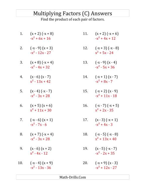 The Multiplying Factors of Quadratic Expressions with x Coefficients of 1 and -1 (C) Math Worksheet Page 2