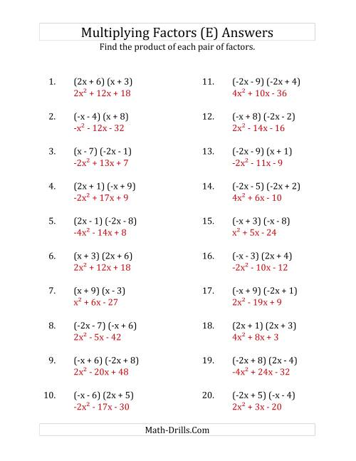 The Multiplying Factors of Quadratic Expressions with x Coefficients of 1, -1, 2 and -2 (E) Math Worksheet Page 2