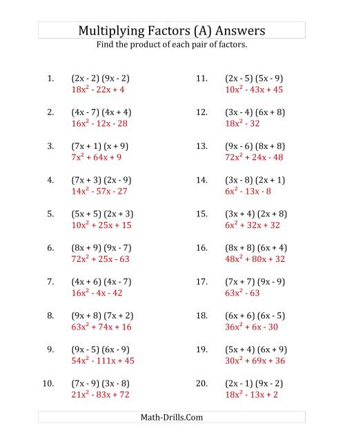 The Multiplying Factors of Quadratic Expressions with x Coefficients up to 9 (A) Math Worksheet Page 2