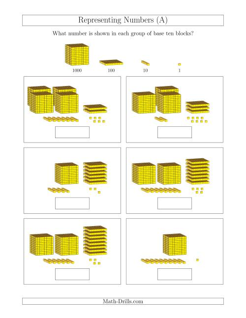 The Representing Numbers to 4999 with Base Ten Blocks (A) Math Worksheet