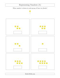 base ten blocks worksheets representing numbers to  with base ten blocks