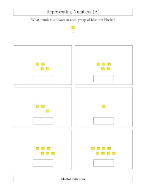 The Representing Numbers to 9 with Base Ten Blocks (A) Math Worksheet