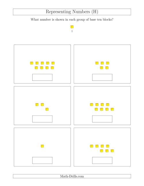 The Representing Numbers to 9 with Base Ten Blocks (H) Math Worksheet