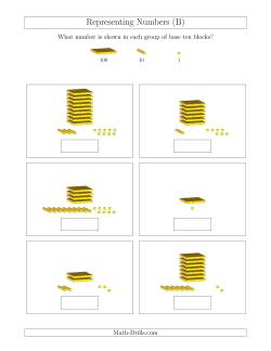 representing numbers units rods and flats b base ten blocks worksheet. Black Bedroom Furniture Sets. Home Design Ideas