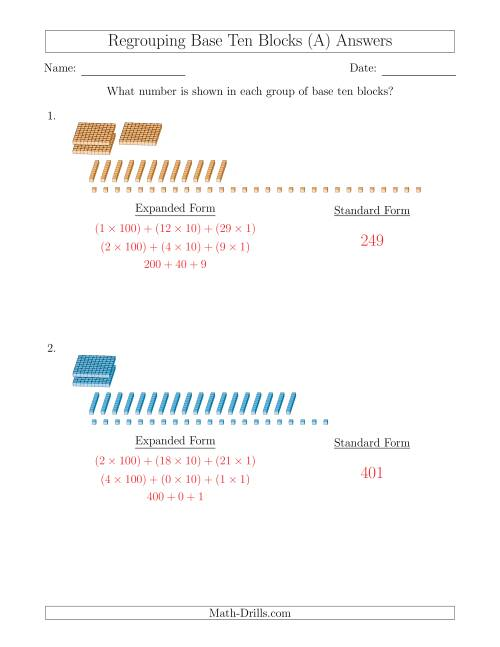 The Representing Numbers with Base Ten Blocks that Require Regrouping (No Thousands and Expanded Form Answers) (A) Math Worksheet Page 2