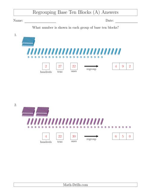 The Representing Numbers with Base Ten Blocks that Require Regrouping (No Thousands) (A) Math Worksheet Page 2