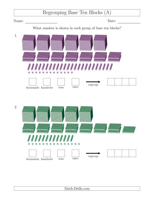 The Representing Numbers with Base Ten Blocks that Require Regrouping (A) Math Worksheet