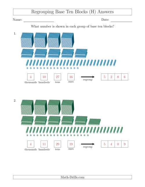The Representing Numbers with Base Ten Blocks that Require Regrouping (H) Math Worksheet Page 2