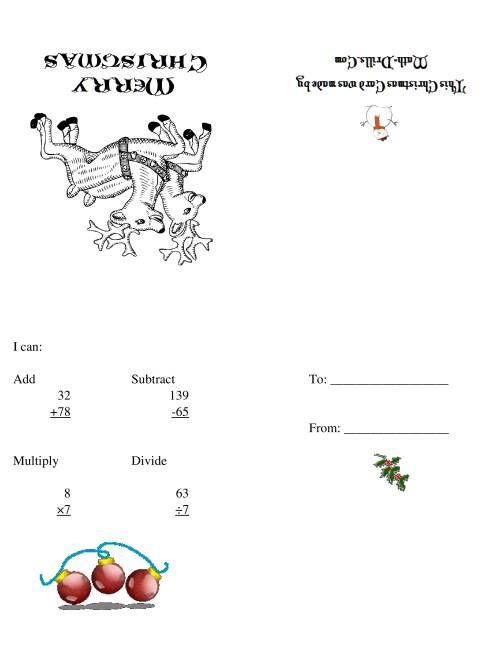 The Christmas Cards (A) Christmas Math Worksheet