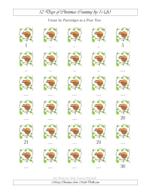 The 12 Days of Christmas Counting by Partridges in a Pear Tree (A) Math Worksheet