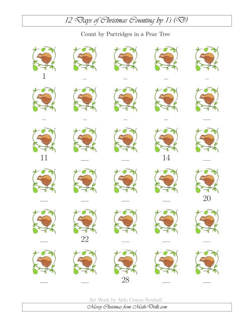 The 12 Days of Christmas Counting by Partridges in a Pear Tree (D) Math Worksheet