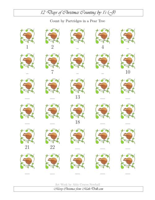 The 12 Days of Christmas Counting by Partridges in a Pear Tree (J) Math Worksheet