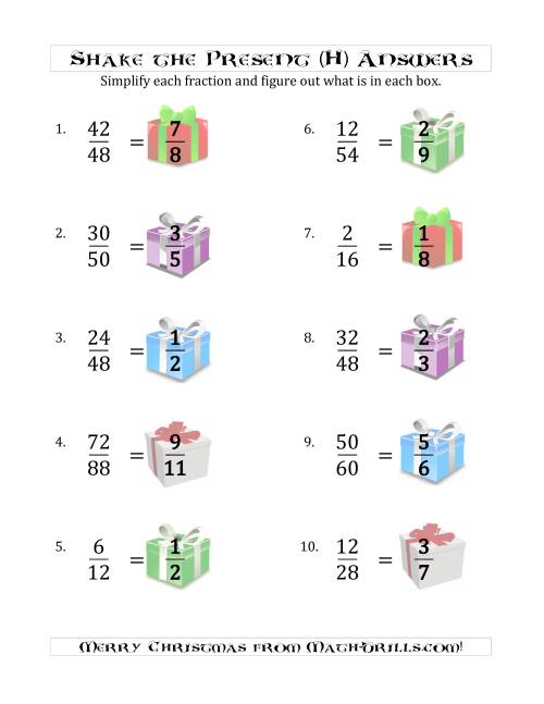 The Shake the Present Simplified Fractions (H) Math Worksheet Page 2