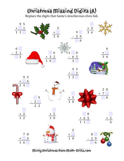 The Christmas Missing Digits (A) Christmas Math Worksheet