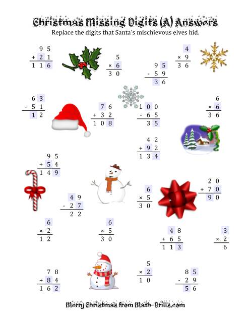 The Christmas Missing Digits (A) Math Worksheet Page 2