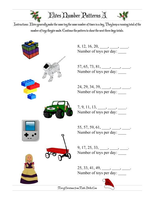 worksheet Number Patterns elves number patterns a the a