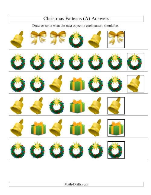 The One-Attribute (Shape) Christmas Picture Patterns Set 2 (A) Math Worksheet Page 2