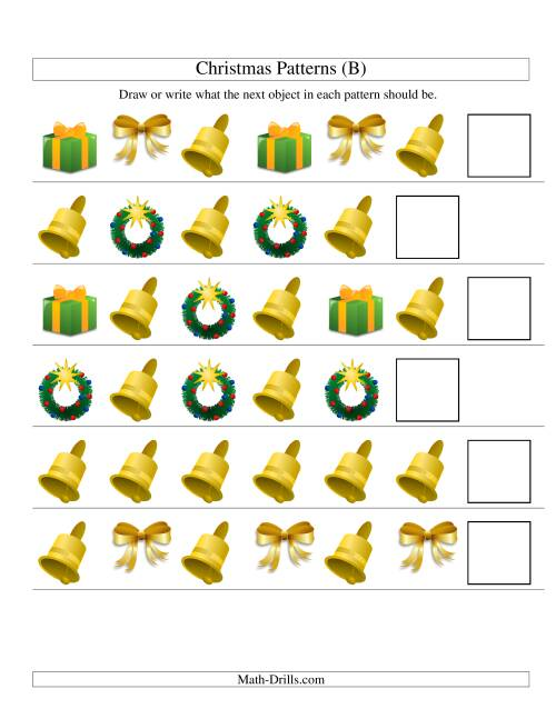 The One-Attribute (Shape) Christmas Picture Patterns Set 2 (B) Math Worksheet