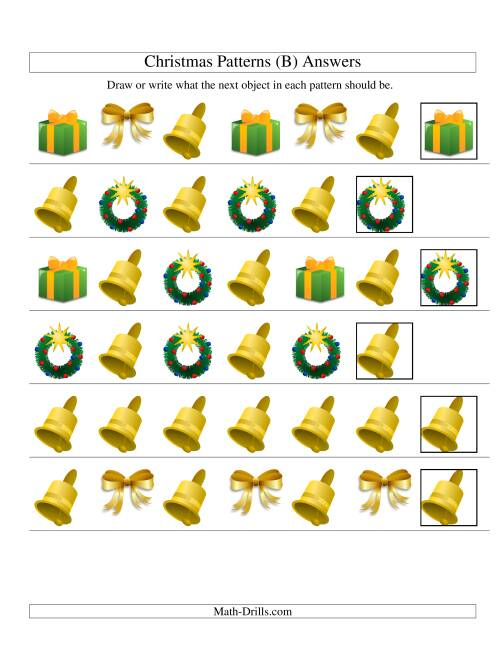 The One-Attribute (Shape) Christmas Picture Patterns Set 2 (B) Math Worksheet Page 2