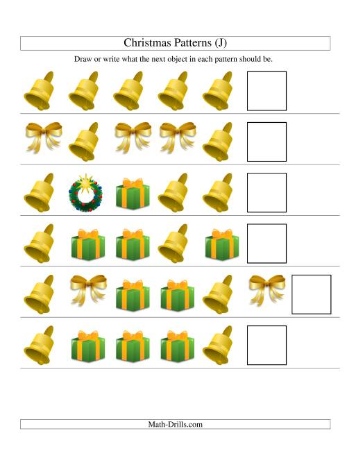 The One-Attribute (Shape) Christmas Picture Patterns Set 2 (J) Math Worksheet