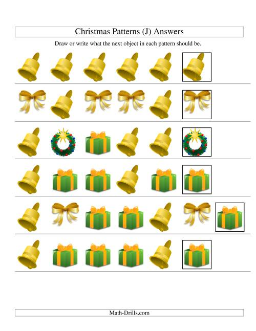 The One-Attribute (Shape) Christmas Picture Patterns Set 2 (J) Math Worksheet Page 2