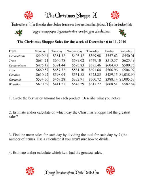 The The Christmas Shoppe (Numbers under $1000) (A) Math Worksheet