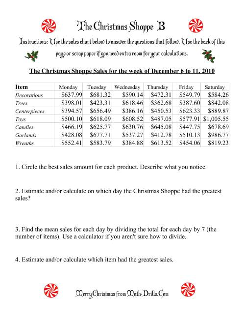 The The Christmas Shoppe (Numbers under $1000) (B) Math Worksheet