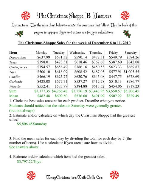 The The Christmas Shoppe (Numbers under $1000) (B) Math Worksheet Page 2