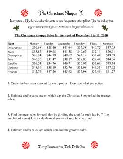 The Christmas Shoppe (Numbers under $100)