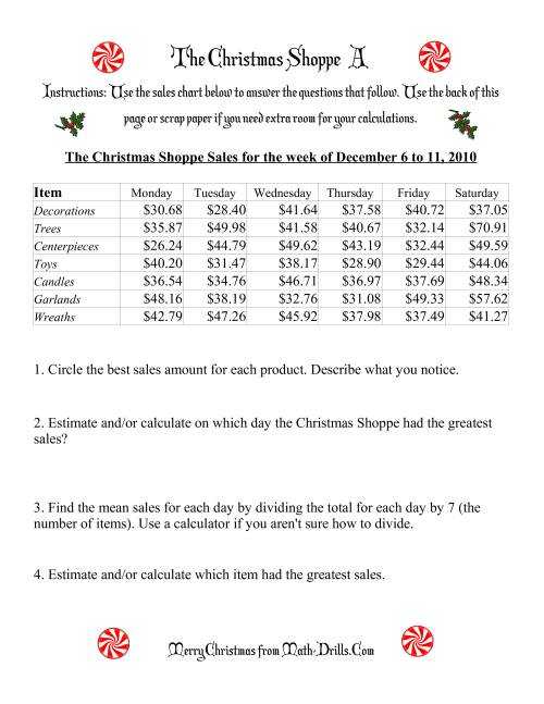 The The Christmas Shoppe (Numbers under $100) (A) Math Worksheet