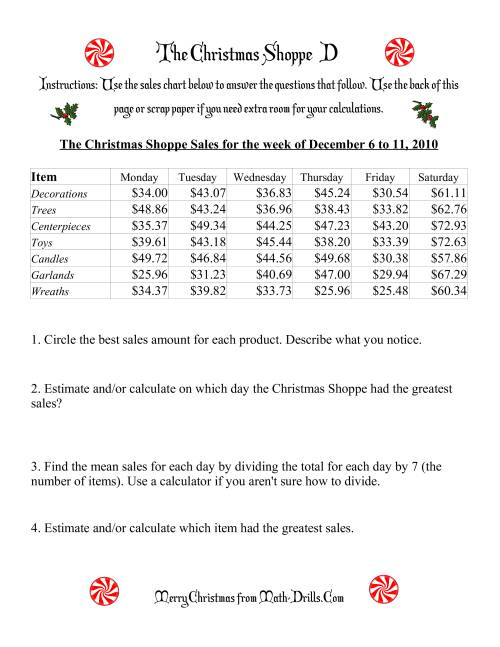 The The Christmas Shoppe (Numbers under $100) (D) Math Worksheet