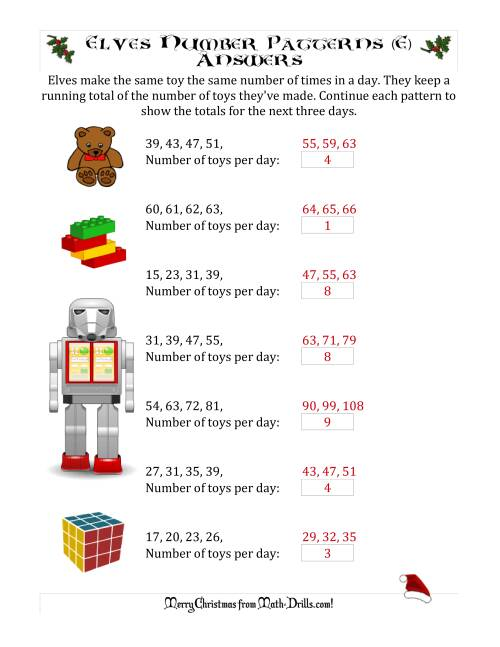 The Elf Toy Inventory with Growing Number Patterns (Max. Interval 9) (E) Math Worksheet Page 2