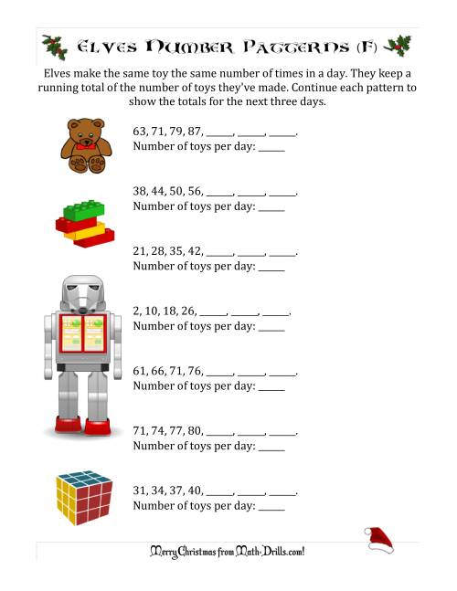 The Elf Toy Inventory with Growing Number Patterns (Max. Interval 9) (F) Math Worksheet