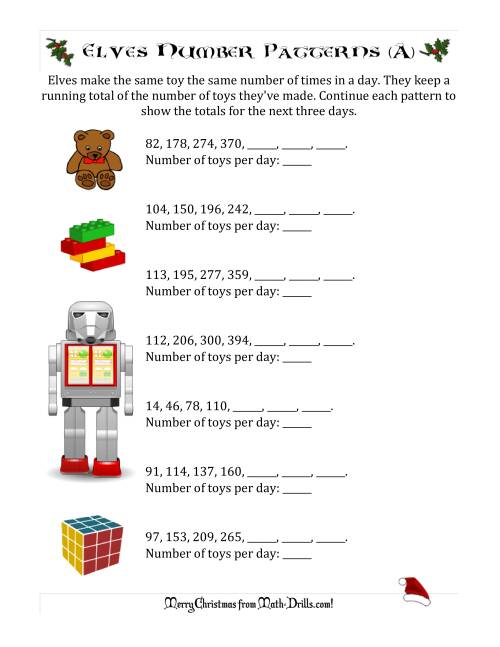 The Elf Toy Inventory with Growing Number Patterns (Max. Interval 99) (A) Christmas Math Worksheet