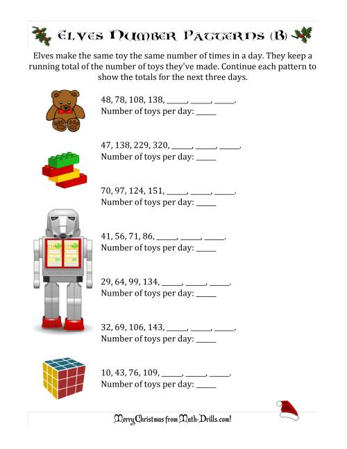 The Elf Toy Inventory with Growing Number Patterns (Max. Interval 99) (B) Math Worksheet