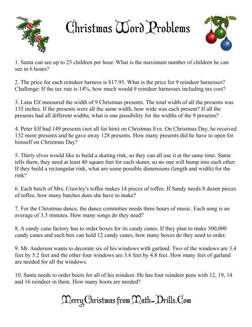 Word Problems – Math Worksheets Christmas