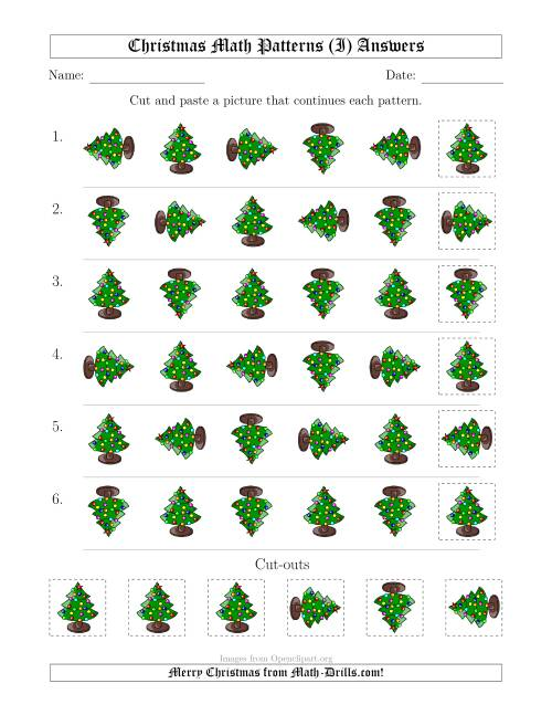 The Christmas Picture Patterns with Rotation Attribute Only (I) Math Worksheet Page 2