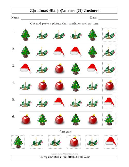 The Christmas Picture Patterns with Shape Attribute Only (A) Math Worksheet Page 2